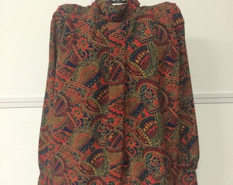 Vintage Jewel Tone Blouse by Andrew Sauvage, size 10