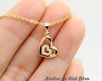 Gold Heart Necklace, Tiny Gold Double Heart Necklace, Cubic Zirconia CZ Heart Necklace, Tiny Gold Heart Pendant Necklace, Bridesmaid Gift