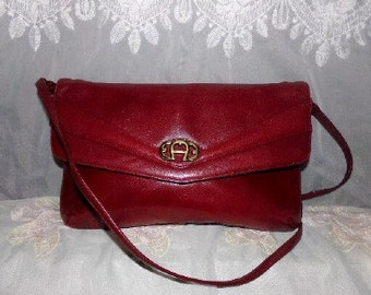 Vintage Burgundy Leather Etienne Aigner Shoulderbag Clutch Purse