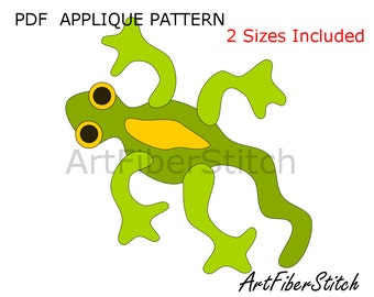 Gecko PDF Applique Template Pattern - available for instant download from ArtFiberStitch