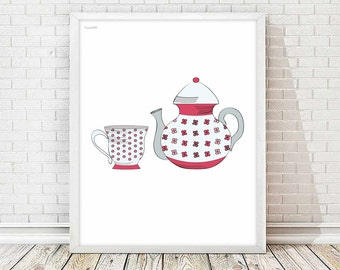 Cup print, kitchen art,cup tea ,cup coffee,art print,art home print, living room,wall art decor, kitchen decor, kitchen print, tea time