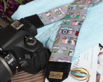 Hand-made camera strap Camera pattern