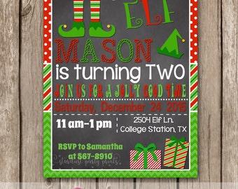 Elf birthday invitation, Elf invitation, Christmas invitation, christmas birthday invitation, christmas chalkboard birthday invitation