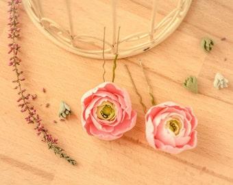 Ranunculus hairpin, flower hairpin, flower girl, girl hairpin, bridesmaid hairpin, bride hairpin
