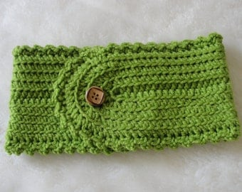 Handmade Crochet Head Band in green color with button.