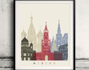 Moscow skyline poster - Fine Art Print Landmarks skyline Poster Gift Illustration Artistic Colorful Landmarks - SKU 1853