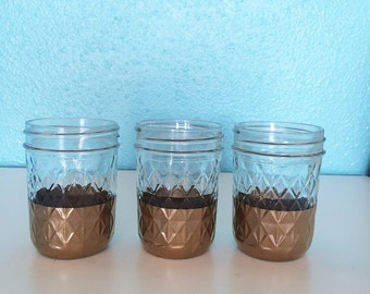 Quilted Mason Jars, Set of 3, Gold
