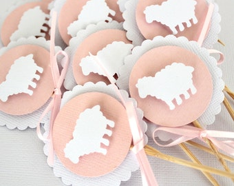12 x lamb Cupcake Toppers; girl baby shower, birthday, pink & white