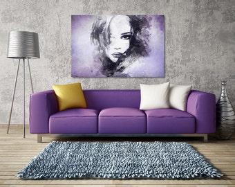 Canvas Print - WOMAN FACE purple - (14904)