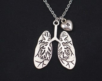 large lungs necklace, initial necklace, silver human lungs charm, anatomy charm, anatomy jewelry, nurse, doctor gift, steampunk, halloween