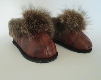 Children slippers, leather handmade slippers