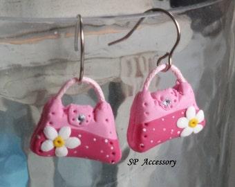 Pink Bag Earrings, Fancy Earrings Clay, Tower Earrings, clay dangle earrings