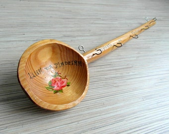 Vintage wooden spoon as hanger for kitchen towels from Madeira Wooden Towel Rack Wooden Towel Holder Farmhouse kitchen decor Cottage chic