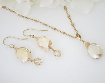 Golden shadow necklace and earring set, Swarovski crystal and gold jewelry set
