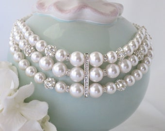 Swarovski bridal choker, Crystal and pearl wedding necklace, Multi strand pearl necklace