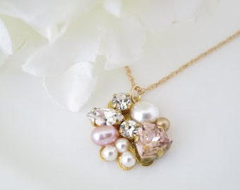 Blush and gold pendant necklace, Swarovski crystal and pearl bridal necklace, Simple wedding necklace