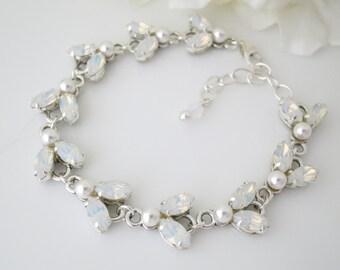 Swarovski white opal bracelet, Opal link bridal bracelet, Marquise wedding bracelet