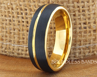 Tungsten Ring Tungsten Wedding Ring Mens Women's Wedding Band Promise Anniversary Engagement Matching Ring Set Black And Yellow Dome 7mm 18k