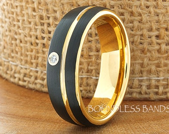 Tungsten Ring Diamond Tungsten Wedding Ring Mens Women's Wedding Band Promise Anniversary Engagement Black Yellow Matching Ring Set 7mm Band