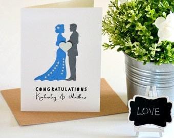 Personalised Wedding Day Card - Wedding Congratulations Card - Blue Gray Wedding - Custom Wedding Day Card - Bride Groom Greeting Card
