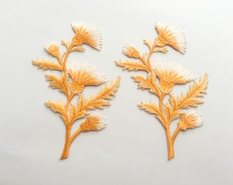 2 pcs Orange Flower Patch  / Embroidered Flower Patch /Embroidered Iron on Patch / Flower Applique-Size 7.5 x 11.5 cm