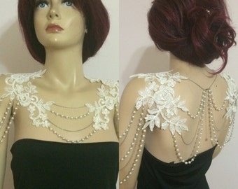 lace shoulder / ivory pearl / shoulder necklace / wedding jewelry / bride shoulder *183