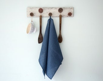 Blue linen tea towels Set of two, Hand or dish towels
