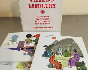 Catholic Mid Century Children's Books | Set of 4 | Mod Illustrations | Communion Gift | Christening Gift | Mass Prayers | Parochial School