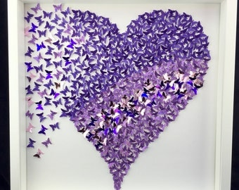 3D paper purple butterfly heart  | butterfly wall art | 3D paper butterflies wall art girls room personalise kids gift ideas |