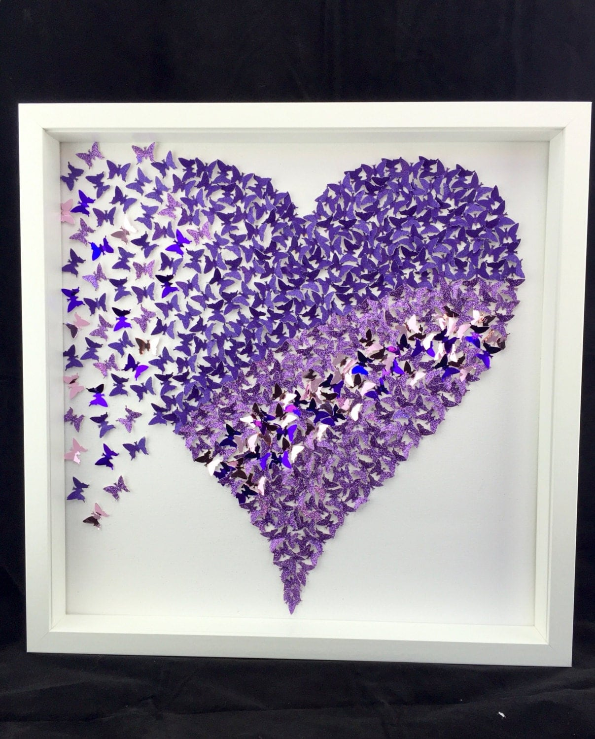 3d paper purple butterfly heart butterfly wall art 3d paper butterflies wall art girls room. Black Bedroom Furniture Sets. Home Design Ideas