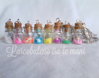 White Pearl Necklace with lucky charms lucky flask bottle