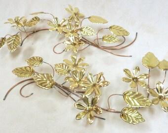 Mid Century Flower Metal 3D Wall Art - Copper and Brass Sculptures (set of 2)