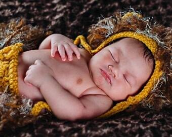 Lion Set.Lion bonnet.Lion diaper cover.Lion Crochet.Photo Prop.Baby Gift.