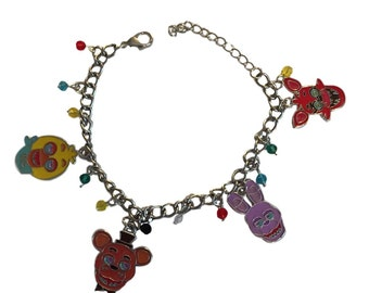 Five Nights at Freddys 4 Enamel Metal Charm Bracelet With Plastic Jewels Costume Accessory