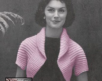 Knit Shrug Simple Bolero PDF Instant Download Vintage Knitting Pattern