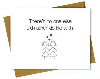Lesbian Anniversary Card / Lesbian Birthday Card / Gay Anniversary Card / Same Sex Card / LGBT - Do Life With