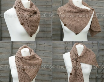 Ladies Scarf Fashion Accessories  Women Crochet Scarf Shoulder Wrap Neckwarmer Mother's Day Gift for mom  Button Cowl UK seller Mocha brown