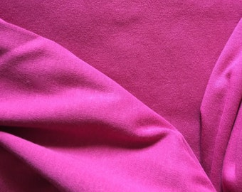 Organic KNIT Cotton Interlock Fabric: Raspberry Solid; Made in USA