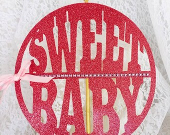 Sweet Baby Cake Topper - Cupcake Toppers - Baby Shower - First Birthday - Baby Shower Decorations - New Mom - Custom Colors - Girl or Boy