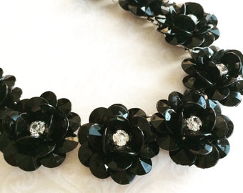 Flower Statement Necklace,Silver Statement Necklace,Black Roses Statement Necklace,Designer Inspired Necklace,Chunky Necklace, Rose Necklace