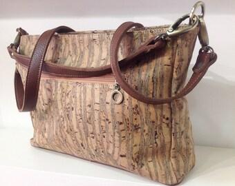 High quality cork handbag in zebra with 2 removable straps