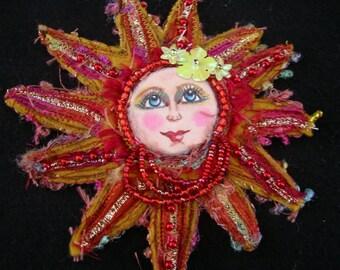 Happy Sun Brooch/Art Doll Brooch/Felt Brooch/ Felt Pin Brooch