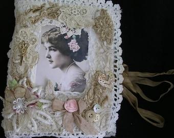 Shabby Chic Needle Keeper/Vintage Style Needle book/Lace Needle keeper.