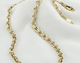 Double link gold necklace, solid 14K gold chain necklace, Handmade gold chain, classical gold necklace, yellow 14K gold chain, solid durable