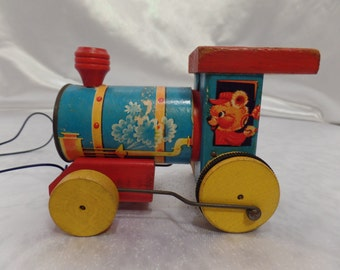 Rare 1957 Fisher Price #617 Whistling Engine Train-Vintage Wood Pull Toy-Teddy Bear Engineer in Cab!