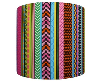 Handmade drum lampshade (pendant or table lamp) with African inspired stripe design.
