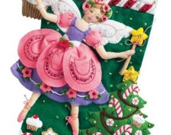 Bucilla 18-Inch Sugar Plum Fairy Christmas Stocking Felt Applique Kit