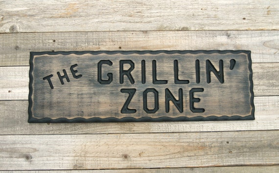 Man Cave Bbq Signs : Bbq grill sign grillin zone wood man by
