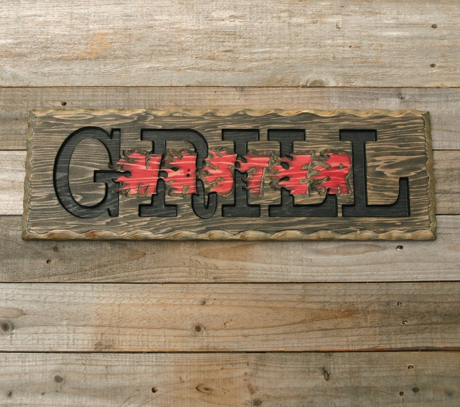 Man Cave Bbq Signs : Bbq grill sign grillmaster wood man cave