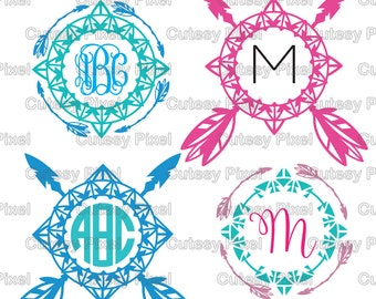 Boho/ Indian Arrow Monogram frames Svg cutting file, arrow Designs SVG, DXF, PNG Cricut Design Space, Silhouette Studio,Digital Cut Files
